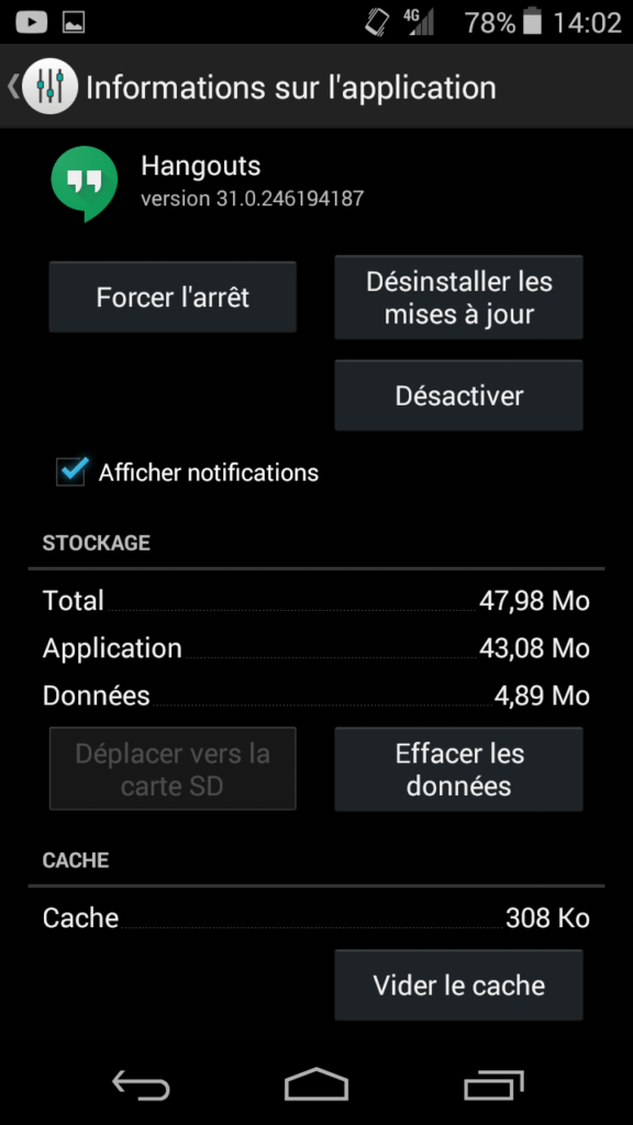 annuler mise à jour application play store